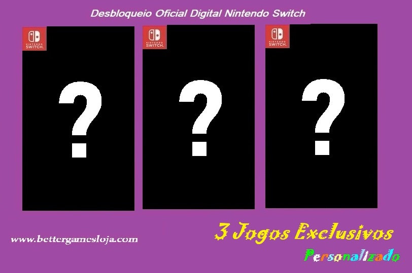 Desb. Nintendo Switch + 3 Jogos Exclusivos (À Combinar)