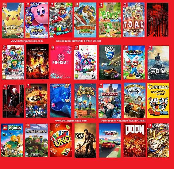 Desbloqueio Nintendo Switch + 28 Jogos + Netflix 3 meses