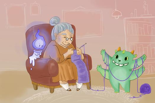 Knitting with grandma