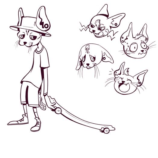 Oliver 'Ollie' the skating cat