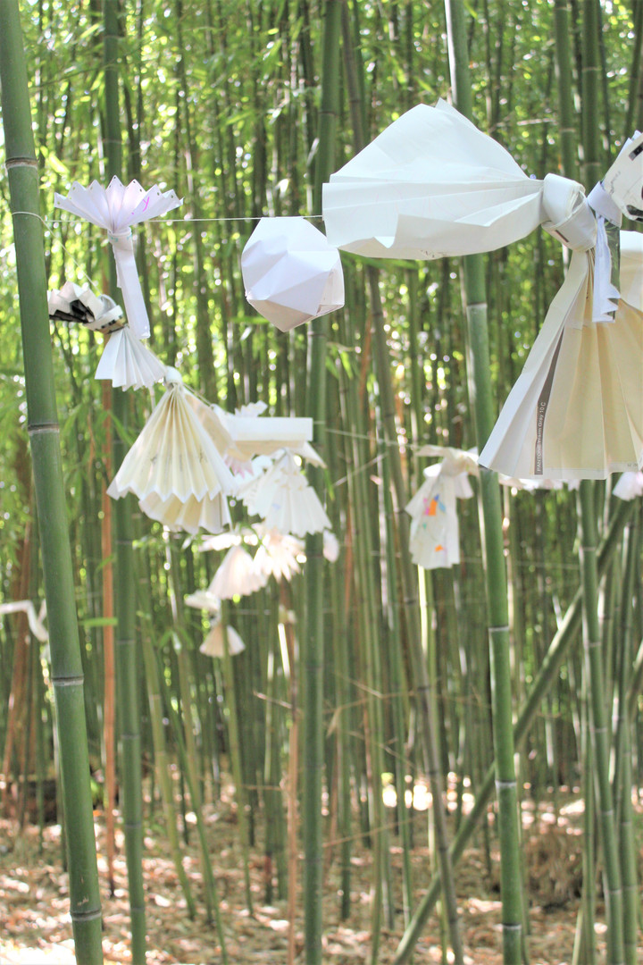ephemeral installation , paperfoldings with written positive affirmations
