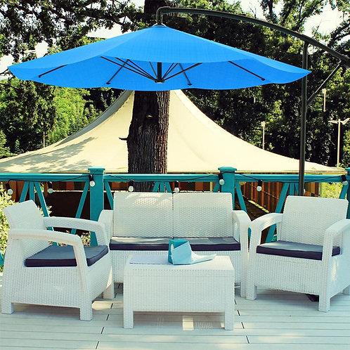 Side Pole Blue Umbrella with Granite base