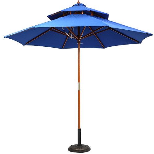 Double Deck Wooden Center Pole Umbrella Blue