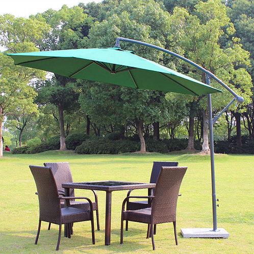 Side Pole Umbrella Green with Granite Base