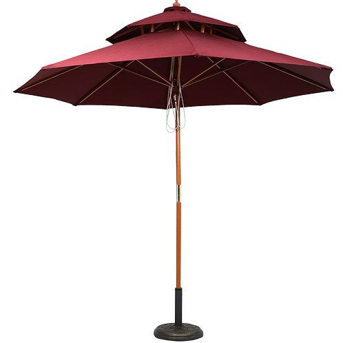 Wooden Center Pole Umbrella Maroon
