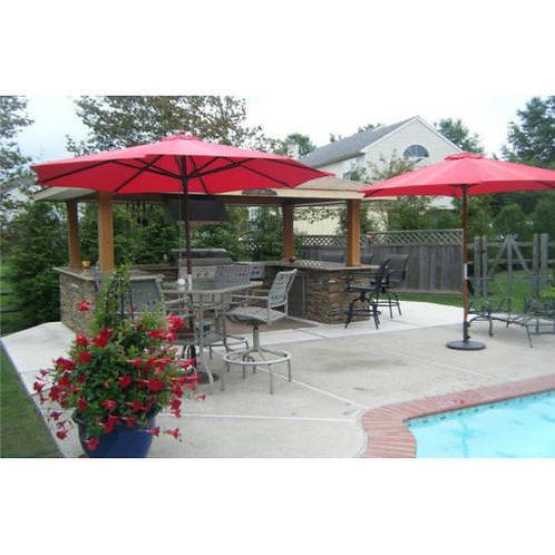 Single Deck Wooden Center Pole Umbrella Maroon