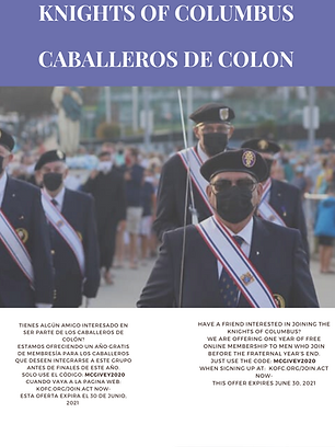Knights of columbus caballeros de colon.