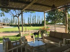 Una terraza en la zona de caballos donde puedes esperar mientras ensillan los caballos