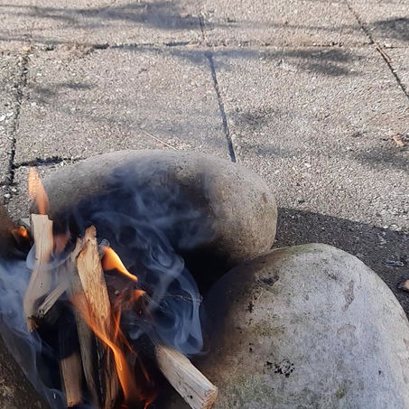 Traditional Breakfast Over Fire