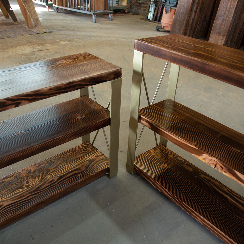 wood console table hand made in los angeles
