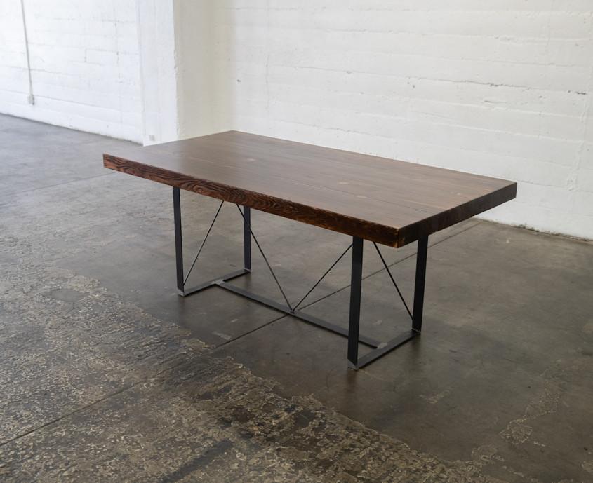modern wood butcher block table dark finish reclaimed wood