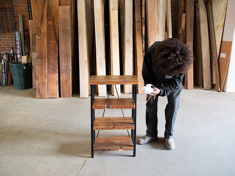Small Reclaimed Wood & Steel Bookshelf - $850