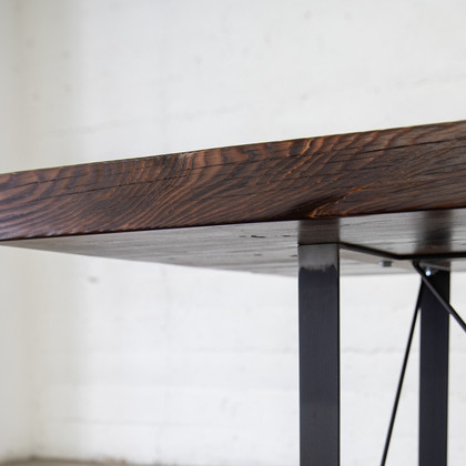 hand made wood butcher block table in los angeles
