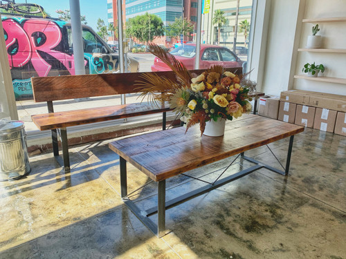restaurant bench and coffee table handmade in los angeles