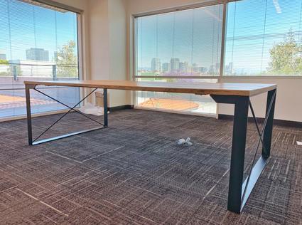 wood and metal computer desks