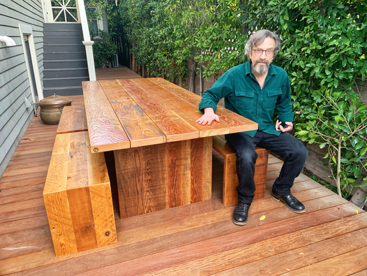 wood outdoor dining table made in los angeles