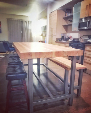 solid wood butcher block dining table