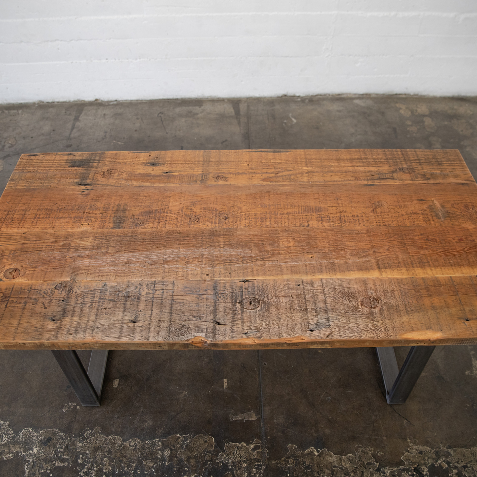 salvaged lumber dining tabletop