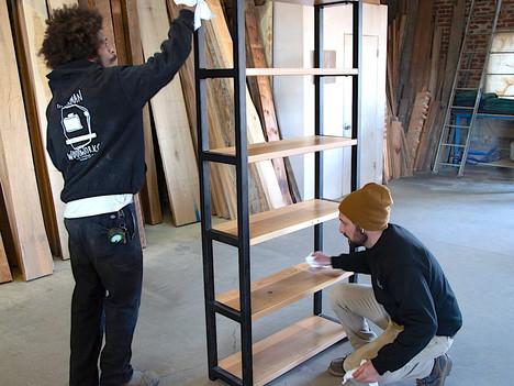 """""""The RicRoks"""" Wood & Steel Bookshelf - $2200"""
