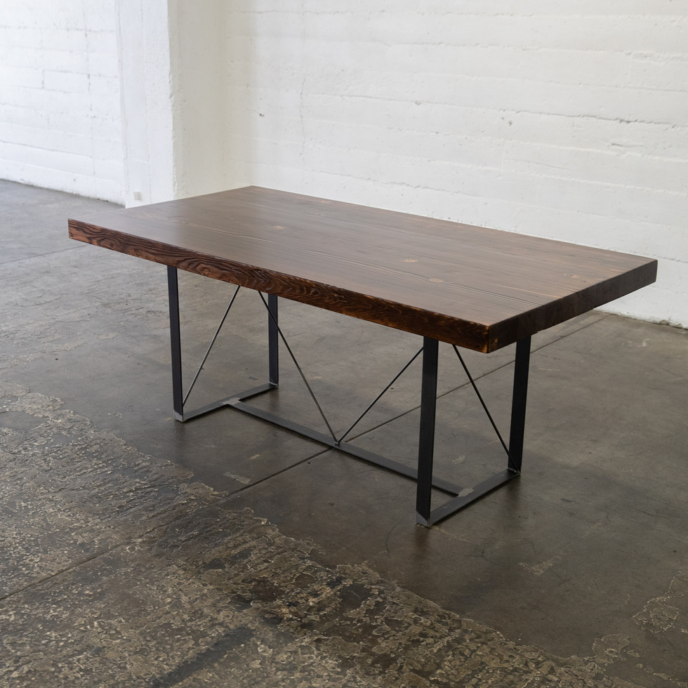 modern wood butcher block table dark finish reclaimed wood