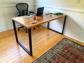 solied wood office desk