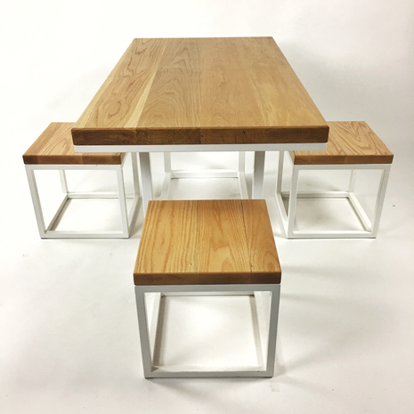 oak dining set made in los angeles