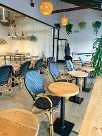 round dining tables in modern restaurant