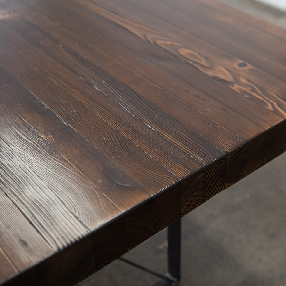 reclaimed wood butcher block table
