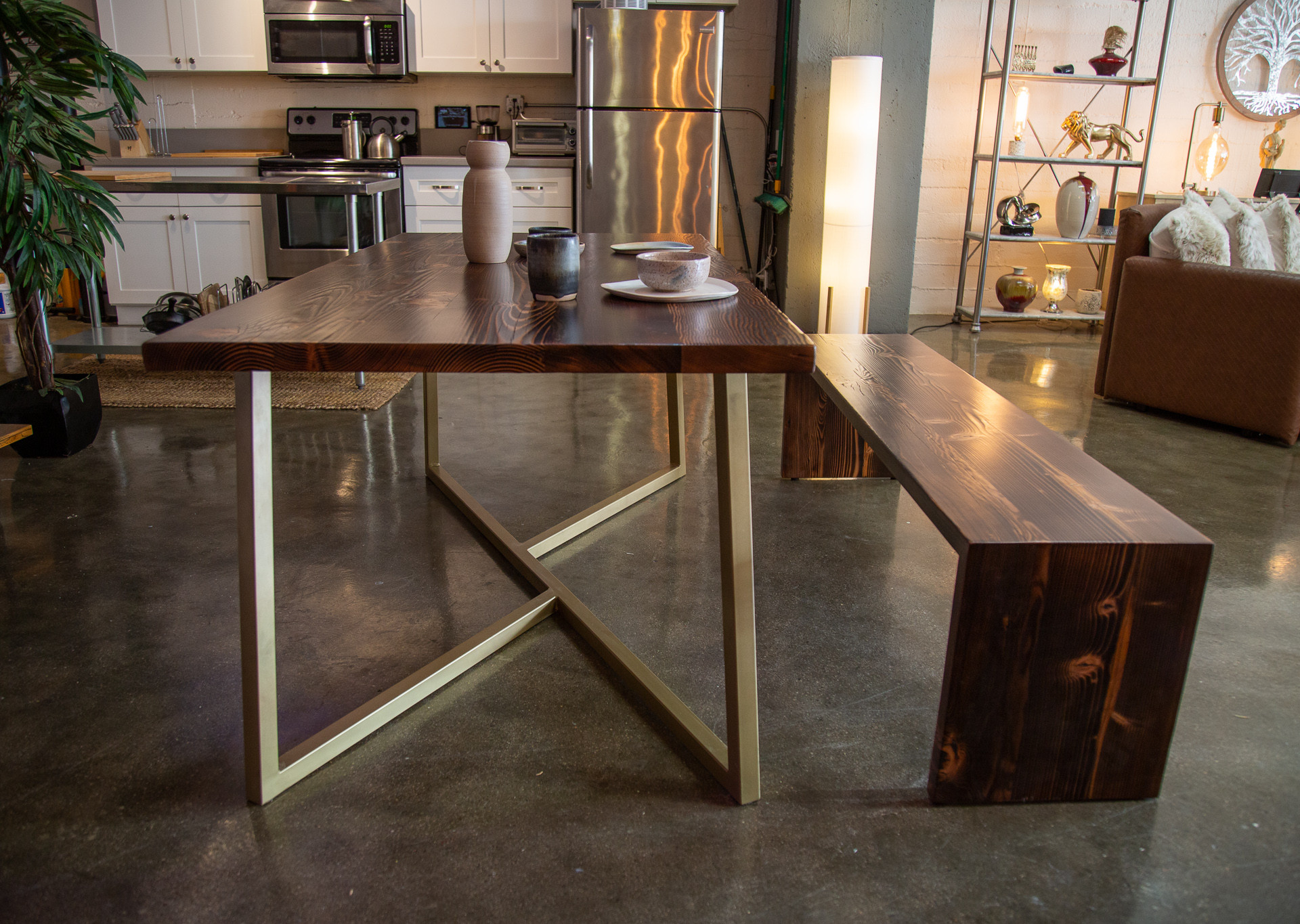 rustic modern dining room table
