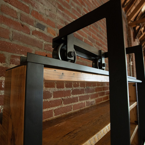 hand made sliding ladder shelf hardware