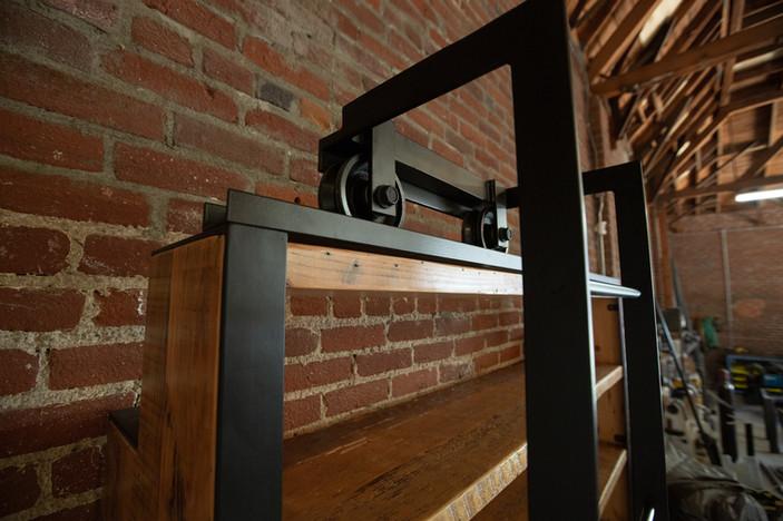 hand made sliding ladder bookshelf