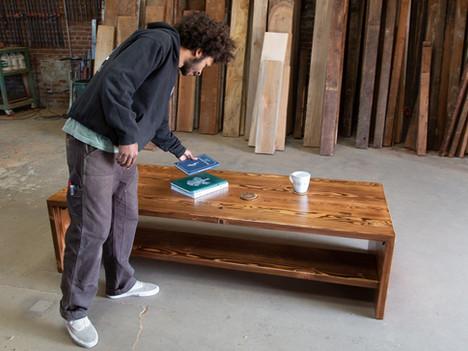 """The Melonee"" Wood Coffee Table w/ Shelf - $2400"