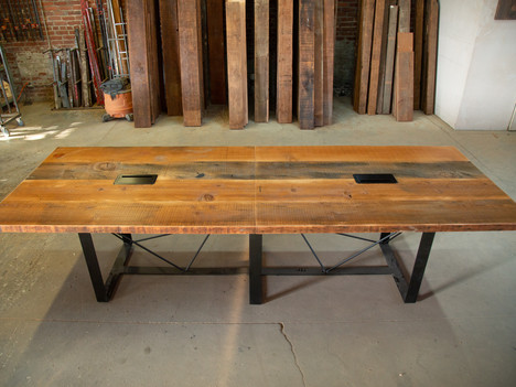 Reclaimed Wood & Steel Conference Table - $3450