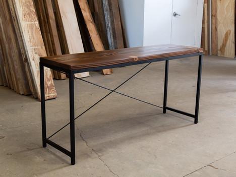 """The Juan"" Dark Wood & Steel Console Table - $975"