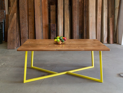 Unique Reclaimed & Yellow Dining Table - $1700