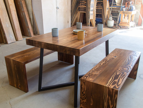 Small Butcher Block Table & Bench Set - $2150