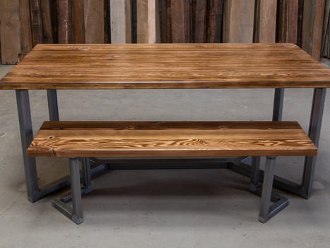 """Reclaimed Table w/ Industrial """"Miguel"""" Base - $1750"""