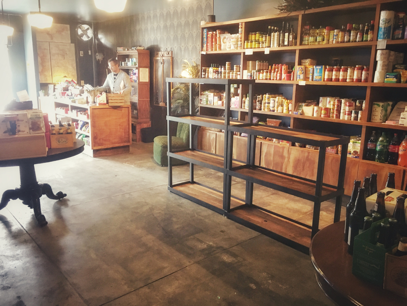 custom wood retail shelving unit