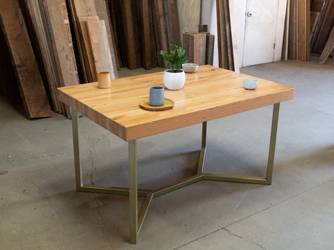 """Butcher Block Table w/ Brass """"Miguel"""" Base - $1475"""