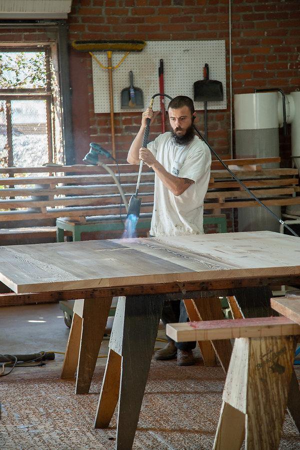 reclaimed wood desk builder los angeles