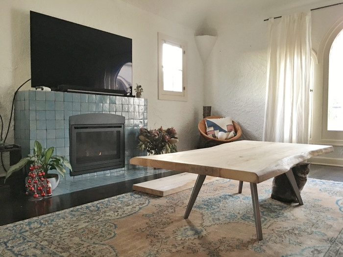 oak coffee table handmade in los angeles