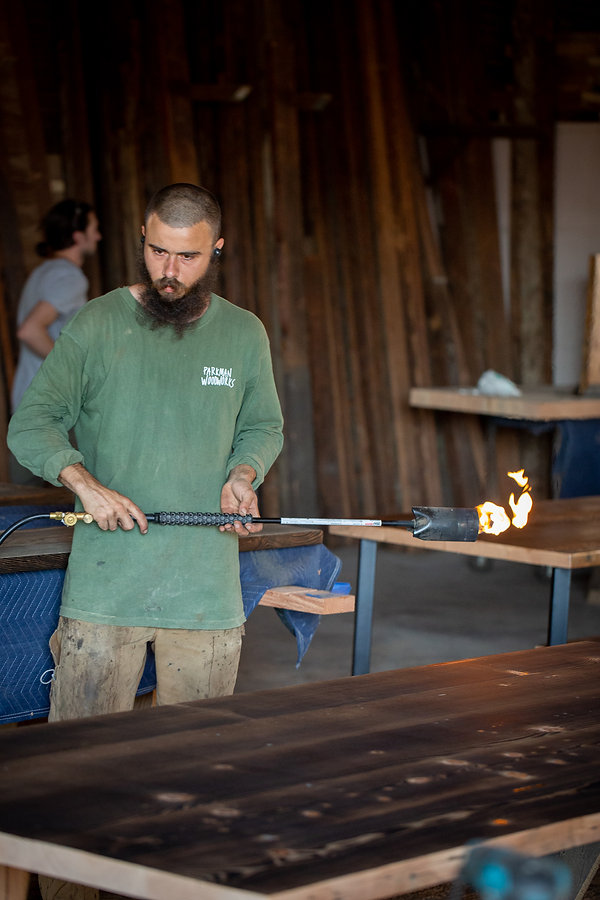 charred dining room table makers