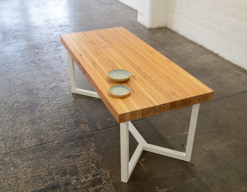 Butcher block reclaimed wood table