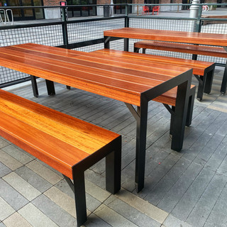 hard wood restaurant outdoor tables