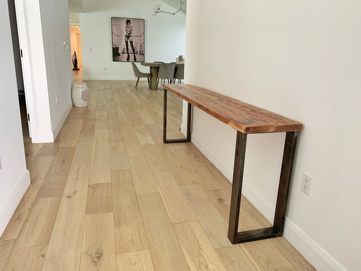 hand made wood console table