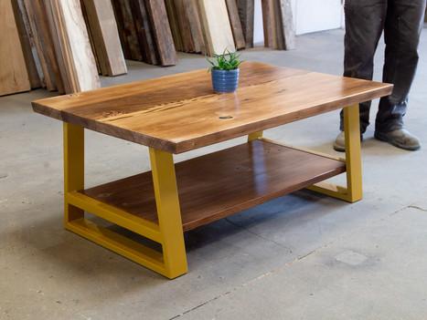 """The Miriam"" Wood Coffee Table w/ Shelf - $1600"