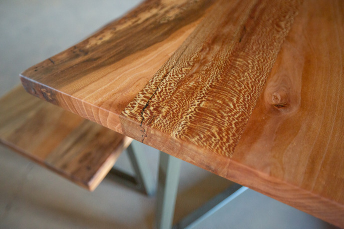 sycamore dining table and bench