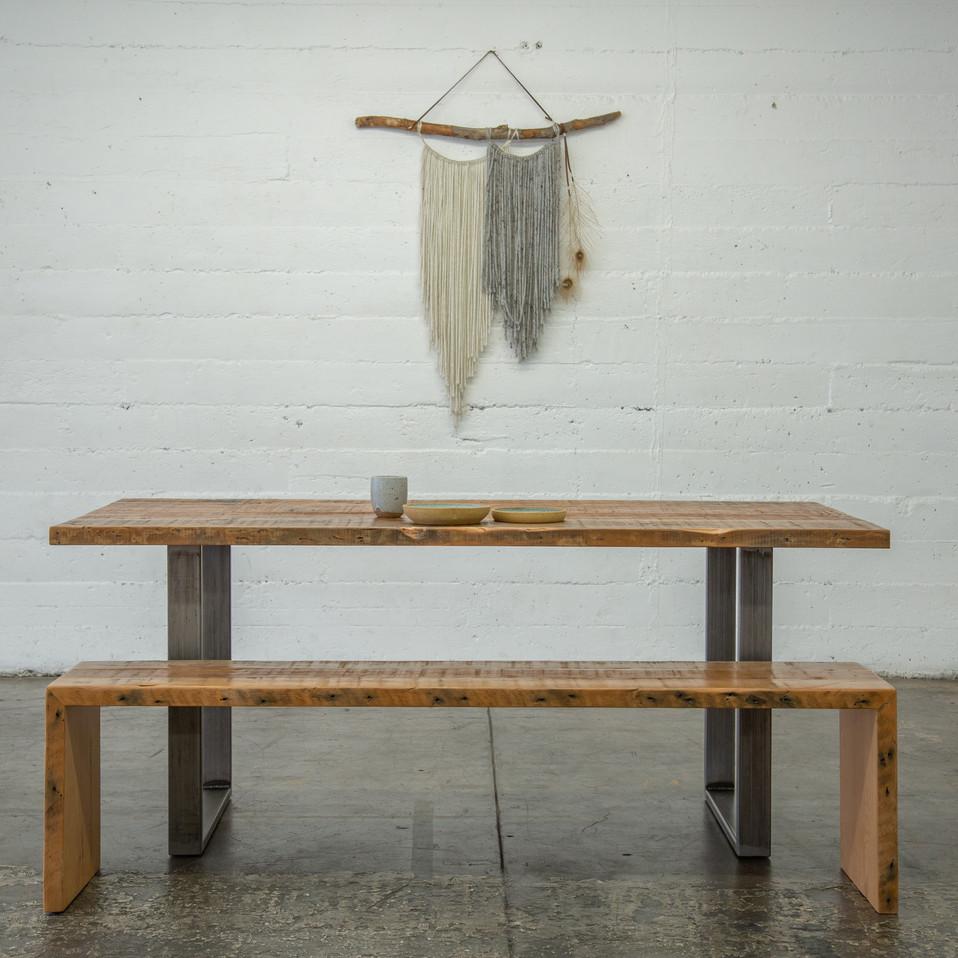 rustic modern dining set bench