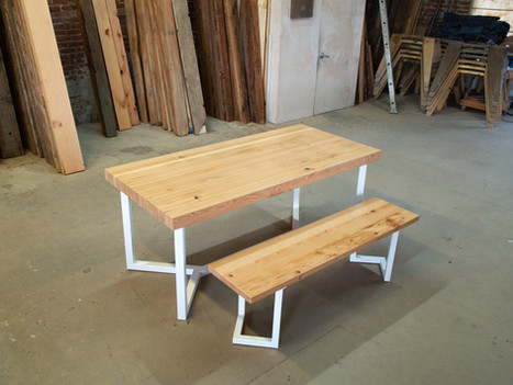 Butcher Block Dining Table & Bench Set - $2325