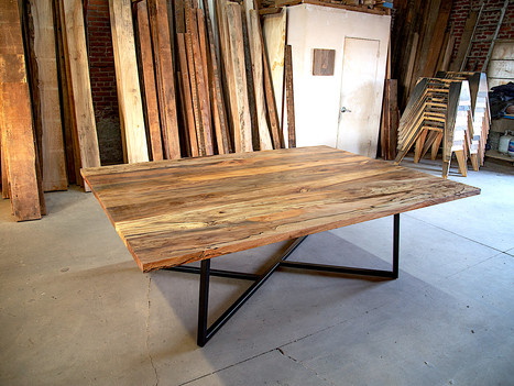 """""""The Nela"""" Sycamore & Steel Dining Table - $6600"""